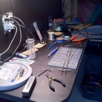 Here is my workbench, working on making turnouts